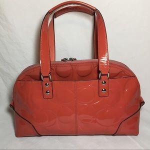 Coral Patent Leather Signature Coach Purse